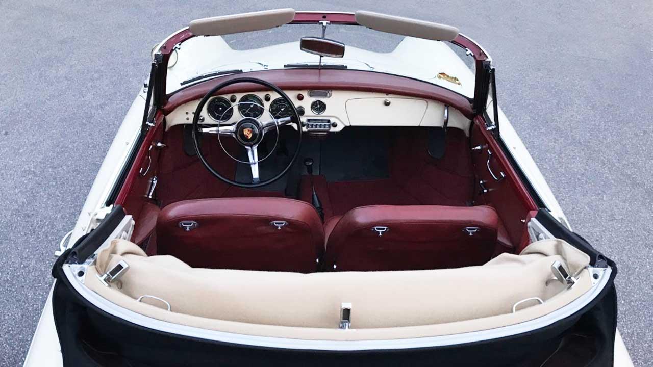 AIL Porsche 356 B 1600 Super Cabrio geöffnet, Draufsicht von hinten