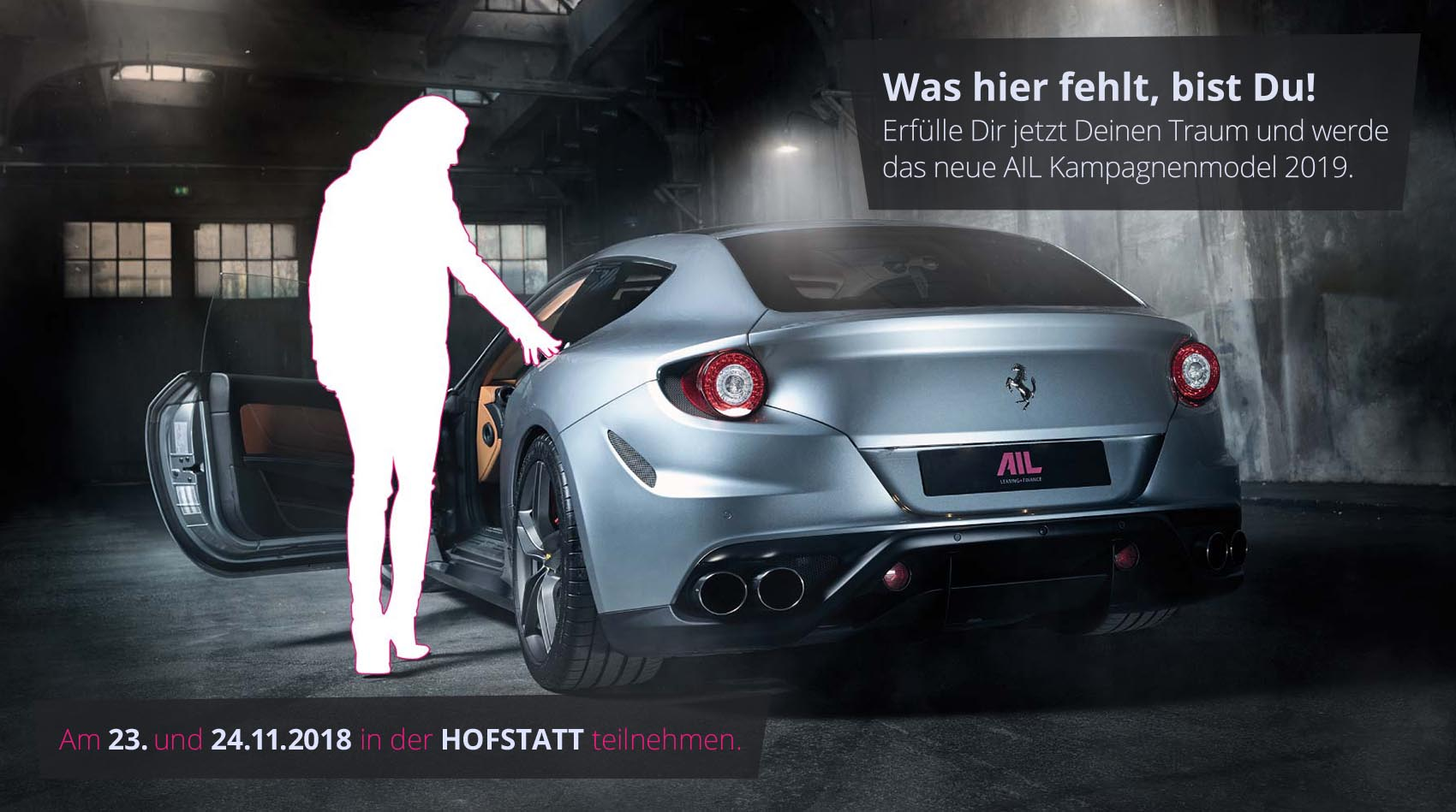 AIL Inspiration Kampagnenmodel mit Ferrari